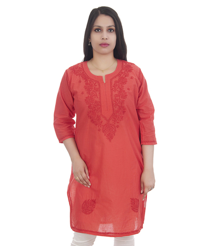Ethnava Hand Embroidered Cotton Lucknowi Straight Chikan Kurti