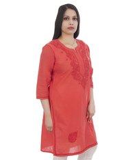 Ethnava Hand Embroidered Cotton Lucknowi Straight Chikan Kurti
