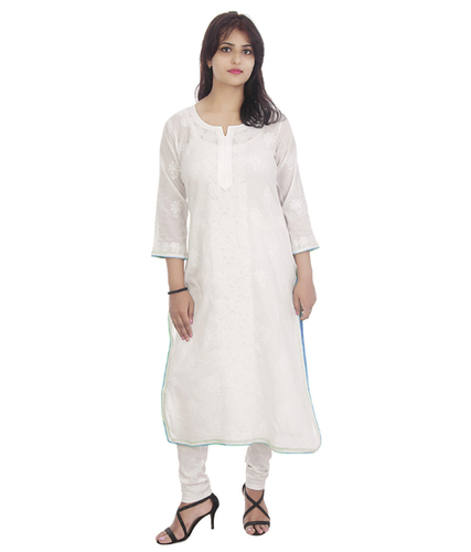 Ethnava Hand Embroidered White with Blue Pipin Cotton Straight Lucknowi Chikan Kurti