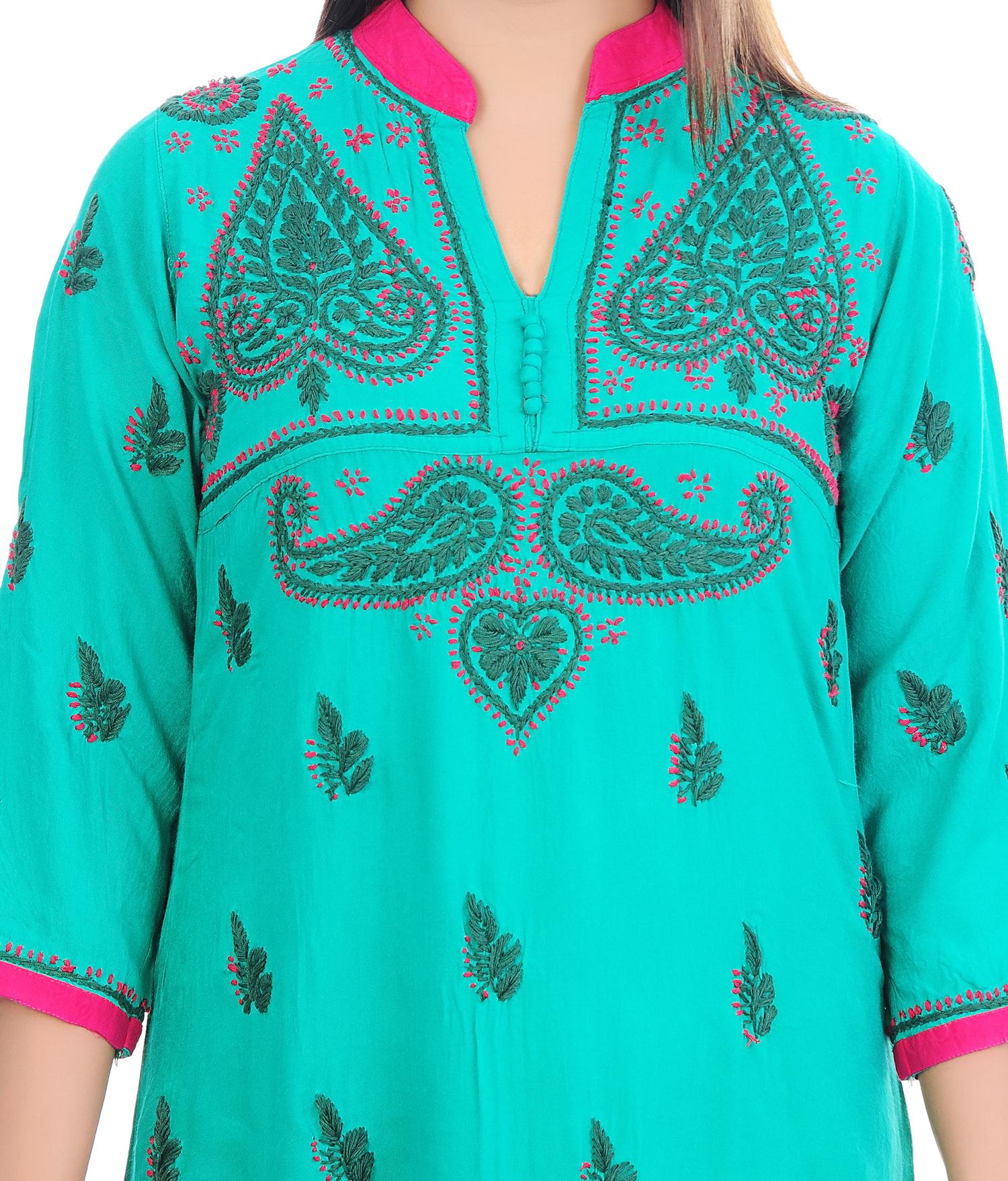Ethnava Hand Embroidered Rayon Straight Lucknowi Chikan Kurti