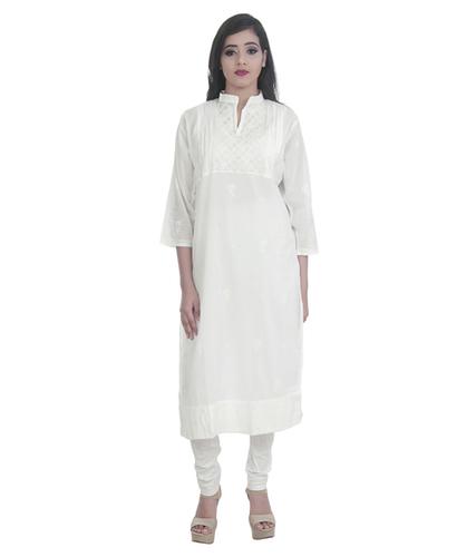 Ethnava Hand Embroidered White Cotton Straight Lucknowi Chikan Kurti