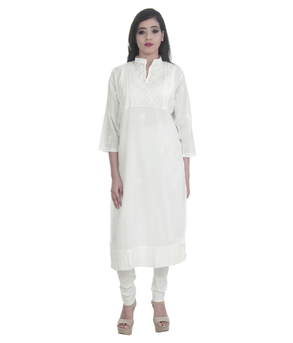 Ethnava Hand Embroidered White Cotton Straight Lucknowi Chikan Kurti