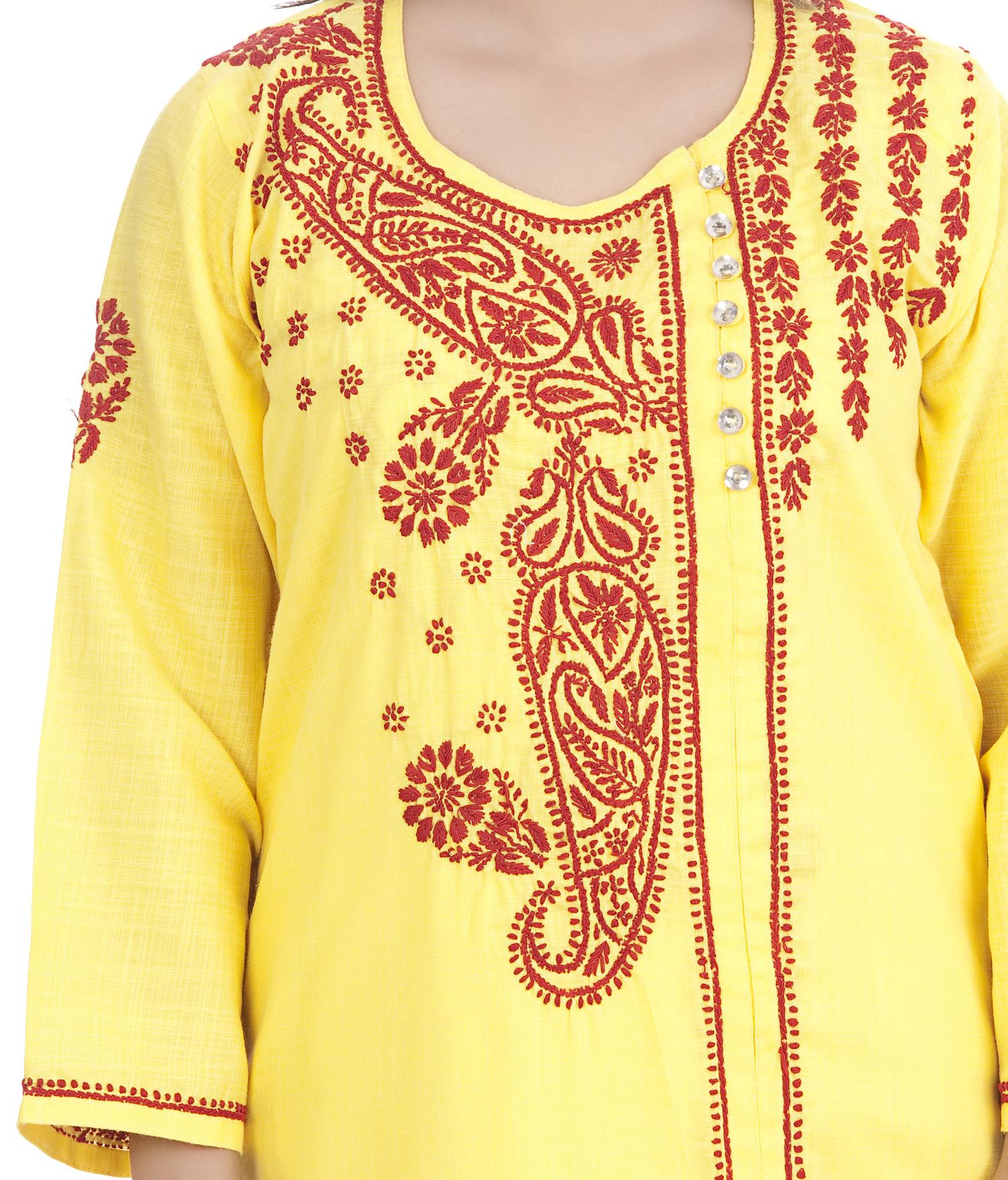Ethnava Hand Embroidered Rayon Slub Lucknowi Chikan Kurti