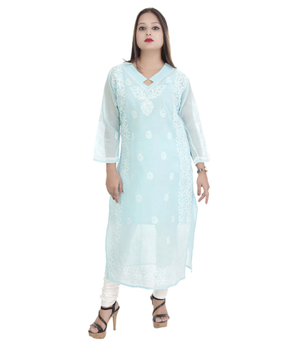 Ethnava Hand Embroidered Cotton Lucknowi Chikan Kurti