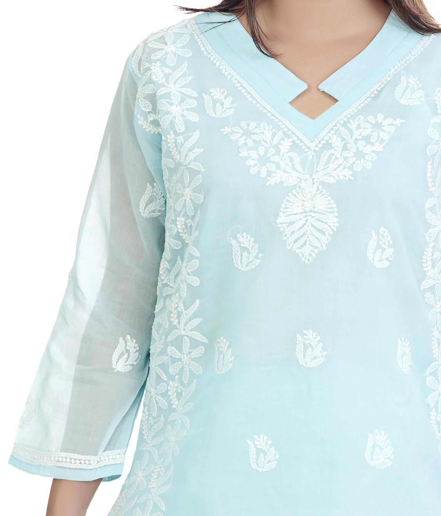 Ethnava Hand Embroidered Cotton Lucknowi Chikan Kurti