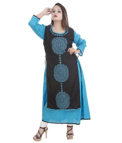 Ethnava Hand Embroidered Rayon Slub Designer Double Layered Lucknowi Chikan Kurti