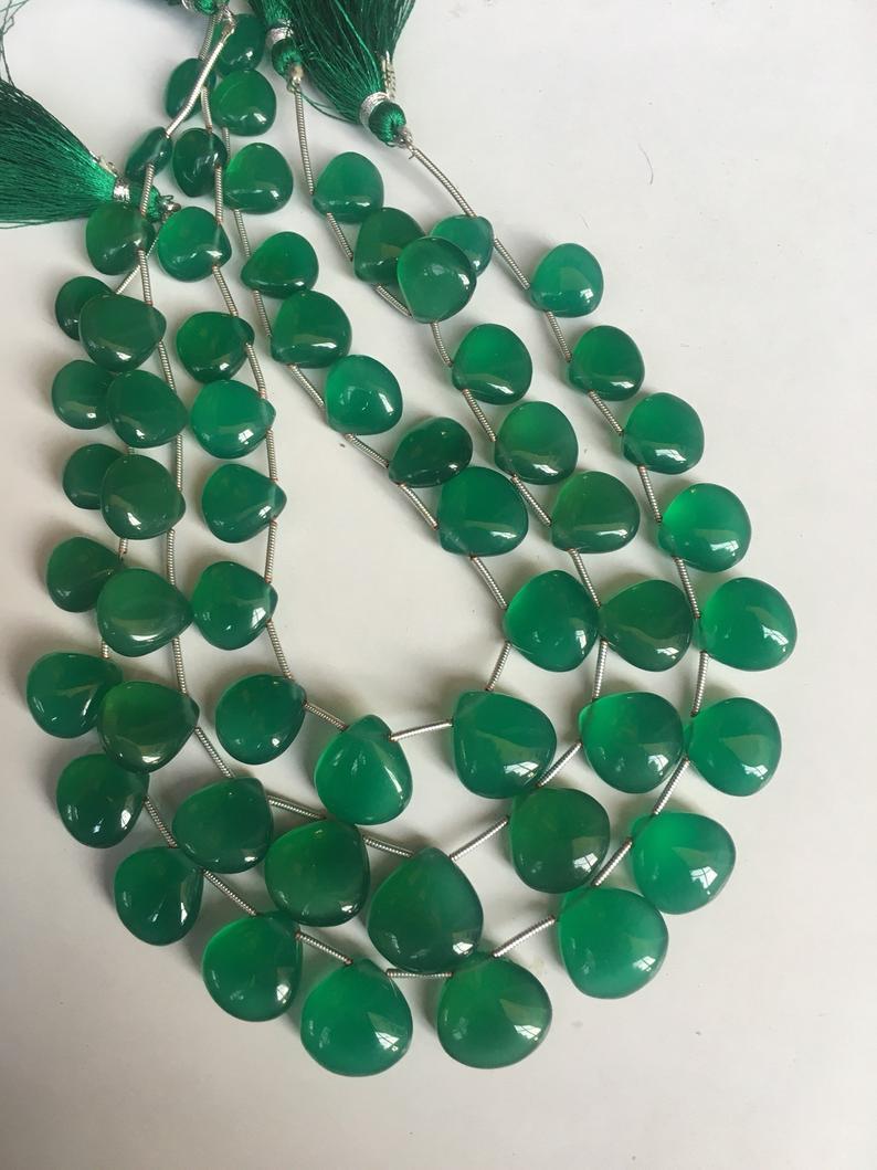 19 pcs AAA green onyx smooth heart shape beads,green onyx heart,onyx beads
