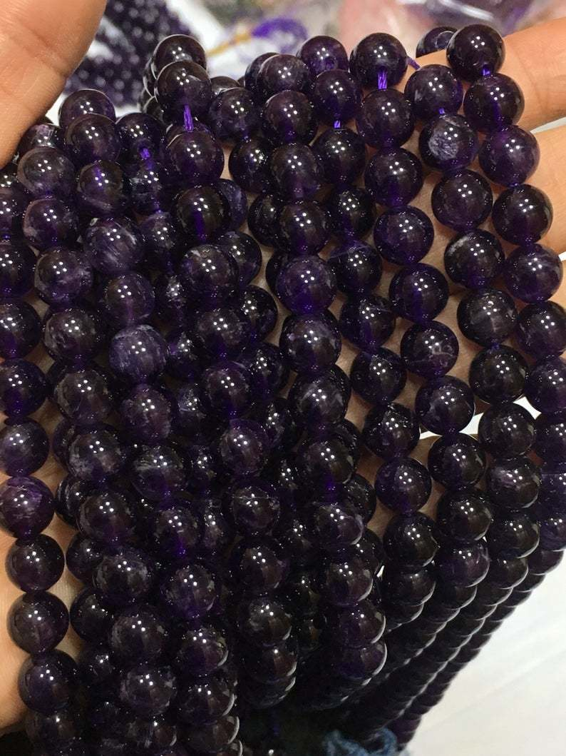 14 inches Finest quality genuine amethyst round 8-8.5mm,amethyst round