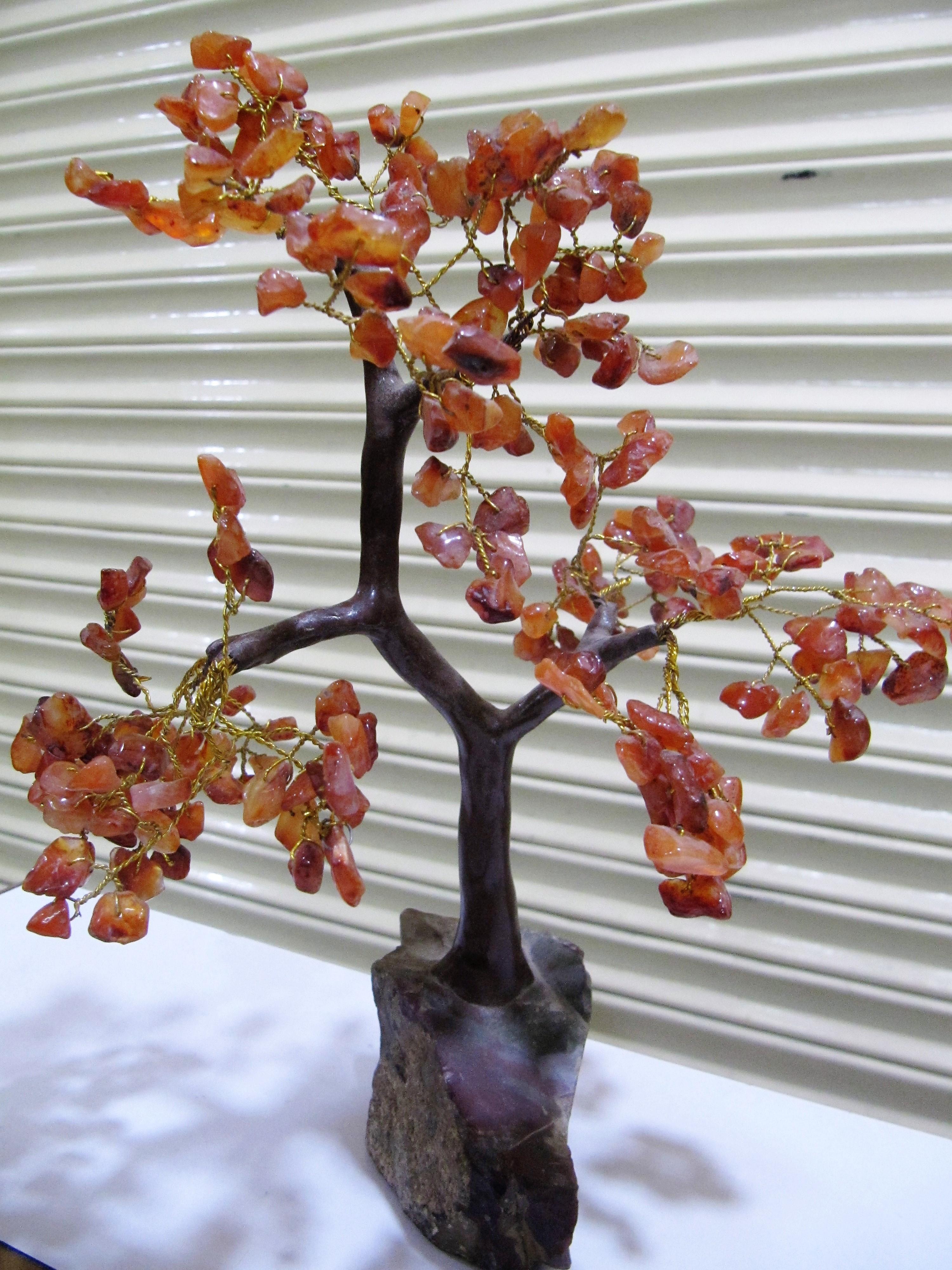 Harmonize Carnelian Stone Healing Stone Tree Spritual Table Decor Office Gift 6-7 inches Long.