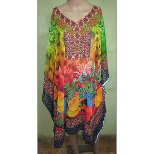 Long digital printed kaftan