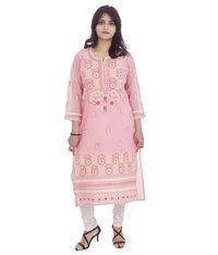 Cotton Straight Lucknowi Chikan Kurti