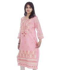 Ethnava Hand Embroidered Cotton Straight Lucknowi Chikan Kurti