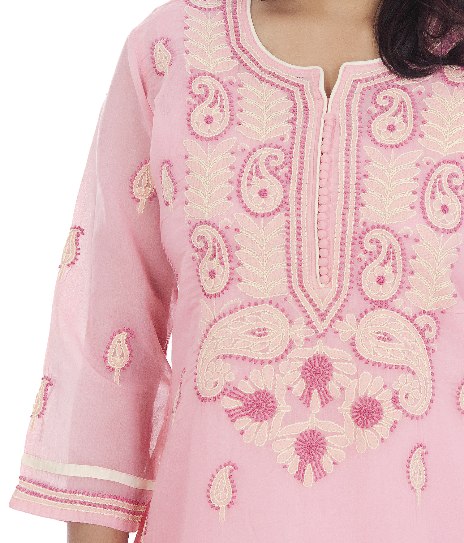 Cotton Straight Lucknowi Chikan Kurti