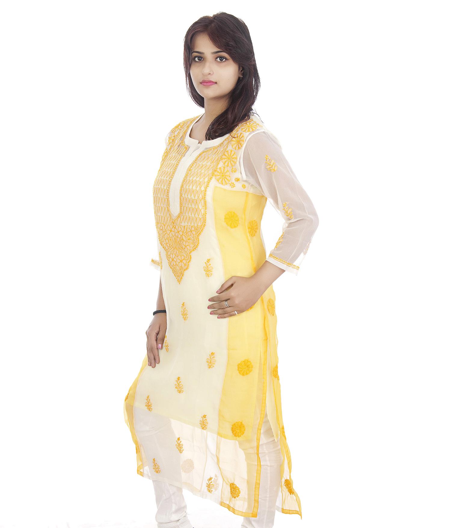 Georgette Straight Lucknowi Chikan Kurti