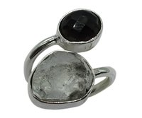 Chintamani & Petalite Stone 925 Silver Ring