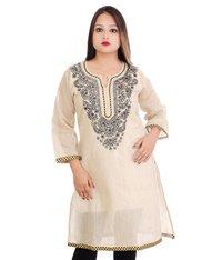 Ethnava Hand Embroidered Cotton Straight Lucknowi Chikan Kurti Magenta