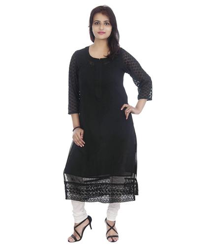 Haqooba Georgette Lucknowi Chikan Kurti