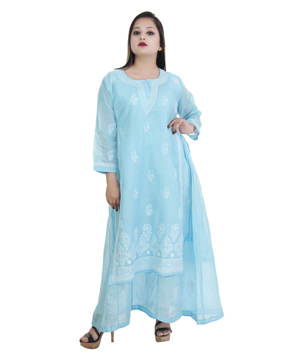 Ethnava Hand Embroidered Cotton Double Layered Lucknowi Chikan Kurti
