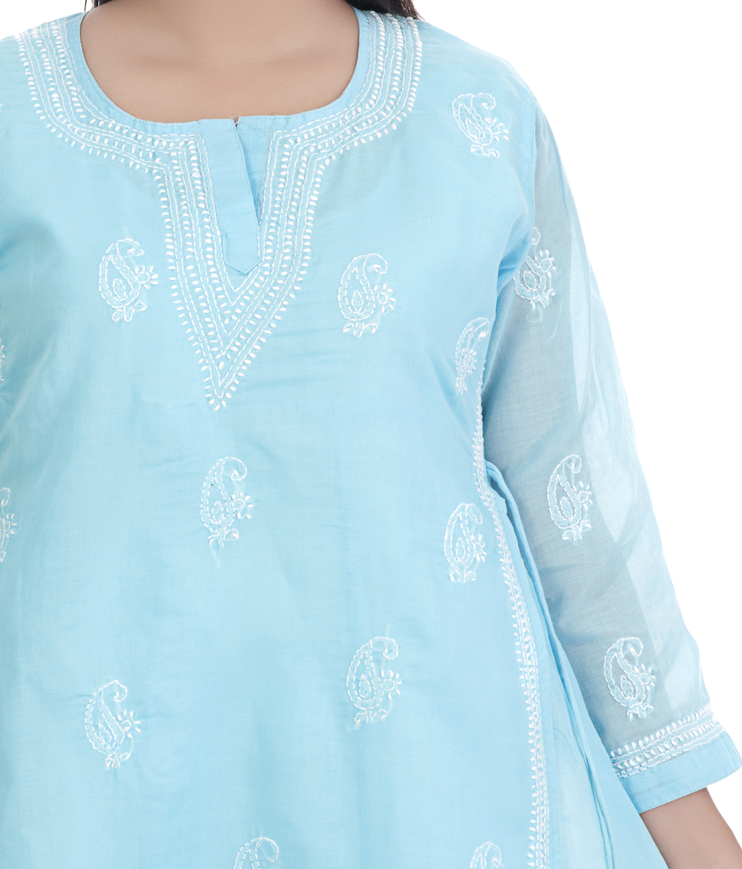 Cotton Double Layered Lucknowi Chikan Kurti
