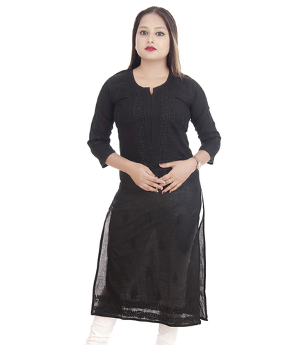 Ethnava Hand Embroidered Cotton Straight Casual Lucknowi Chikan Kurti