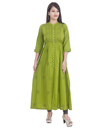 Ethnava Hand Embroidered Frontslit Cotton Lucknowi Chikan Flared kurti
