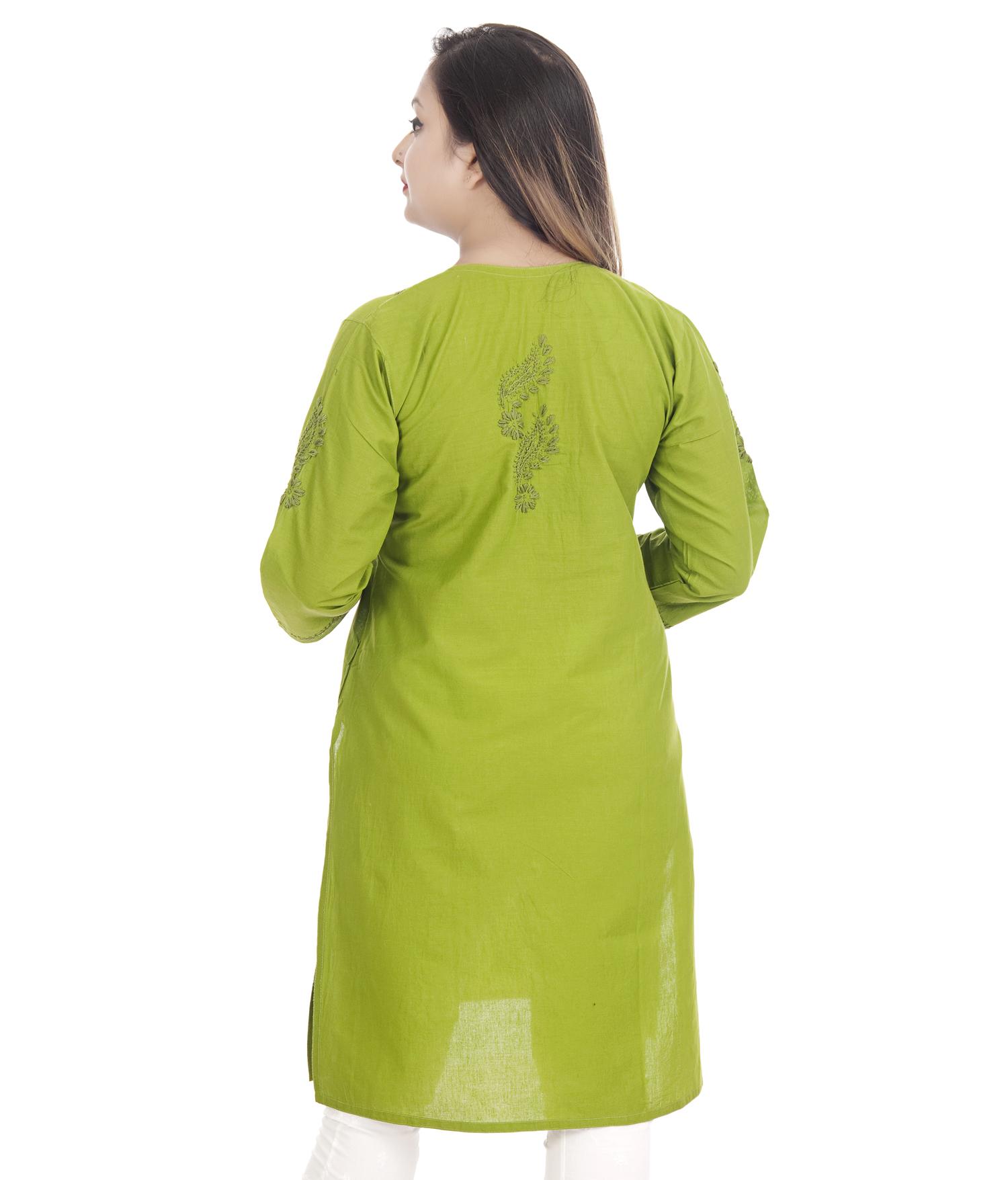 Ethnava Hand Embroidered Cotton Straight Lucknowi Chikan Kurti