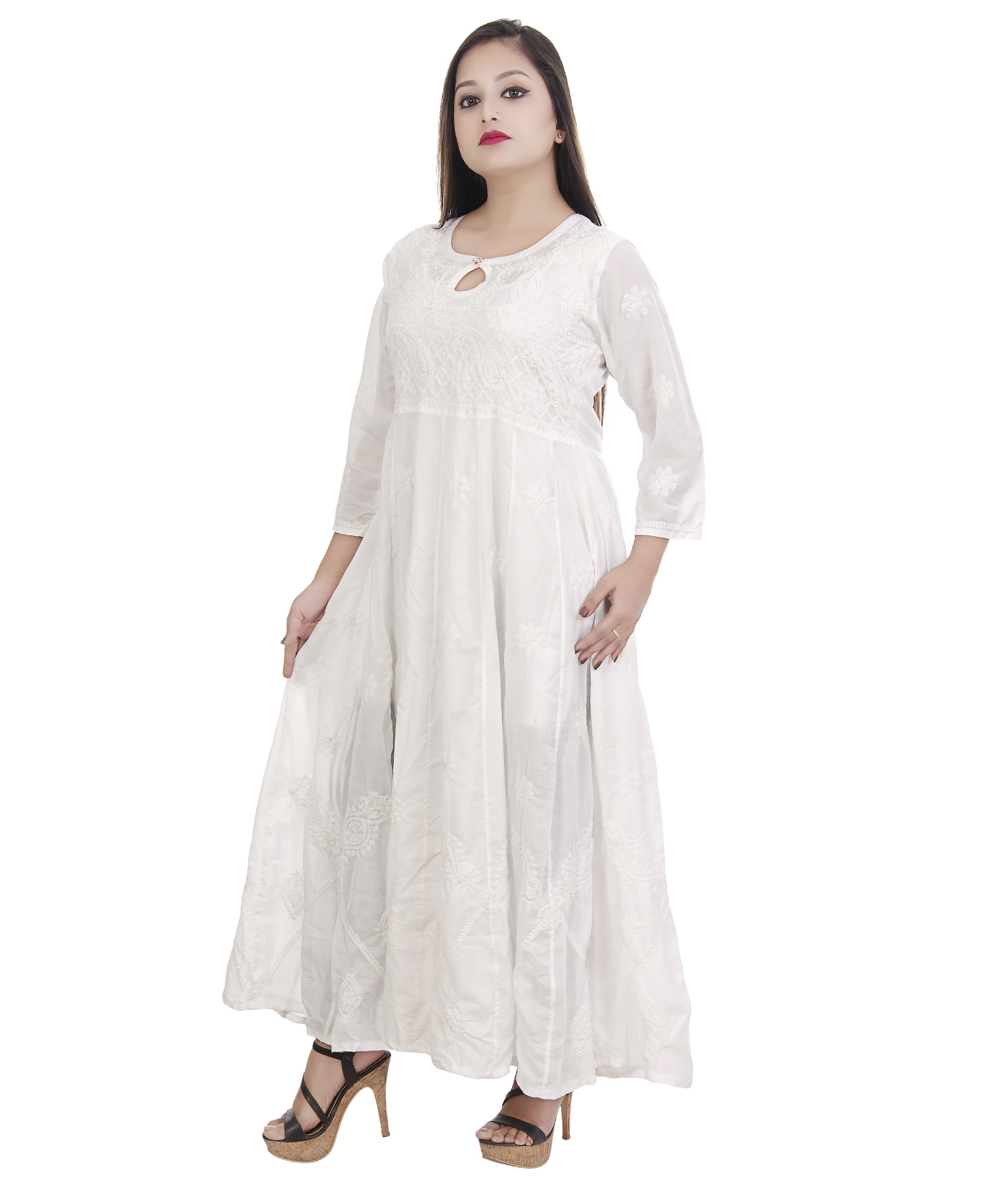 Ethnava Hand Embroidered Muslin Cotton Flared Lucknowi Chikan Kurti