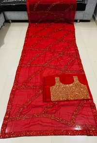 GEORGETTE  WORK WITH LACE BORDER