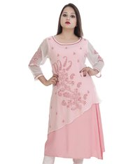 Ethnava Hand Embroidered Women's Georgette Lucknowi Chikan Kurti