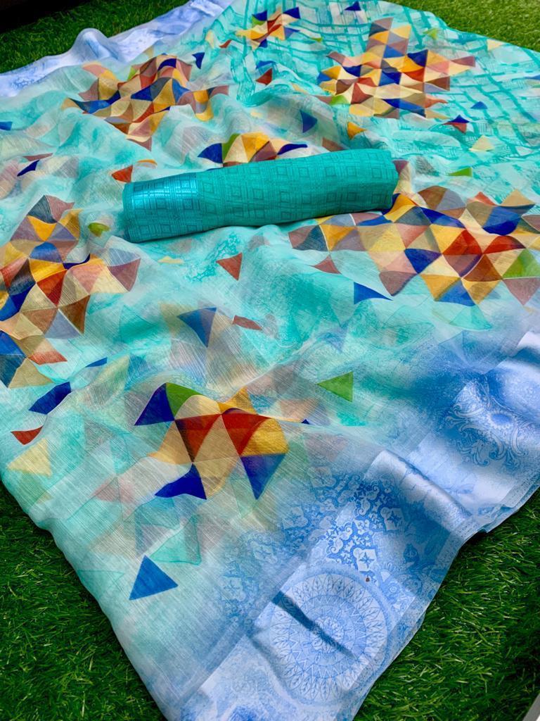 Linen Print With Sartin Big Border
