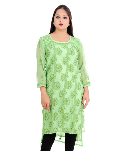Ethnava Hand Embroidered Georgette Straight Lucknowi Chikan Kurti