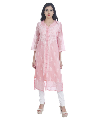 Ethnava Hand Embroidered Kota Cotton Front Slit Lucknowi Chikan Kurti