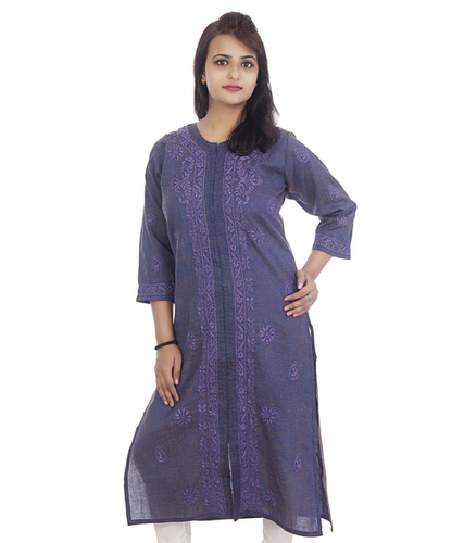 Ethnava Hand Embroidered Khadi Cotton Fronslit Lucknowi Chikan Kurti