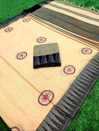 HEAVY LINEN CHIT PALLU SAREE