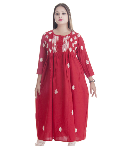 Ethnava Hand Embroidered Cotton Lucknowi Chikankari Full Flared kurti