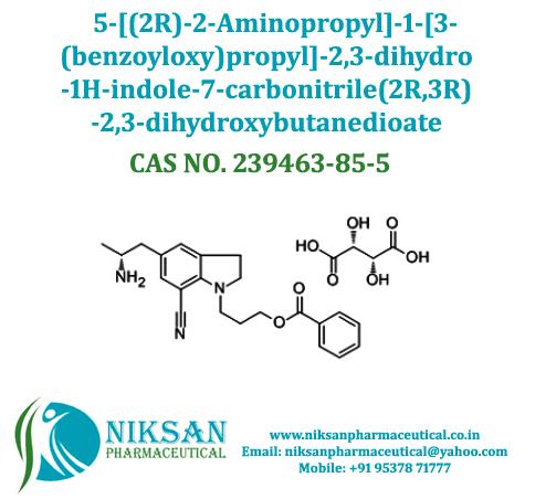 5-2r-2-aminopropyl-1-3-benzoyloxy-propyl-2-3-dihydro-1h-indole-7-carbonitrile-2r-3r-2-3-dihydroxybutanedioate