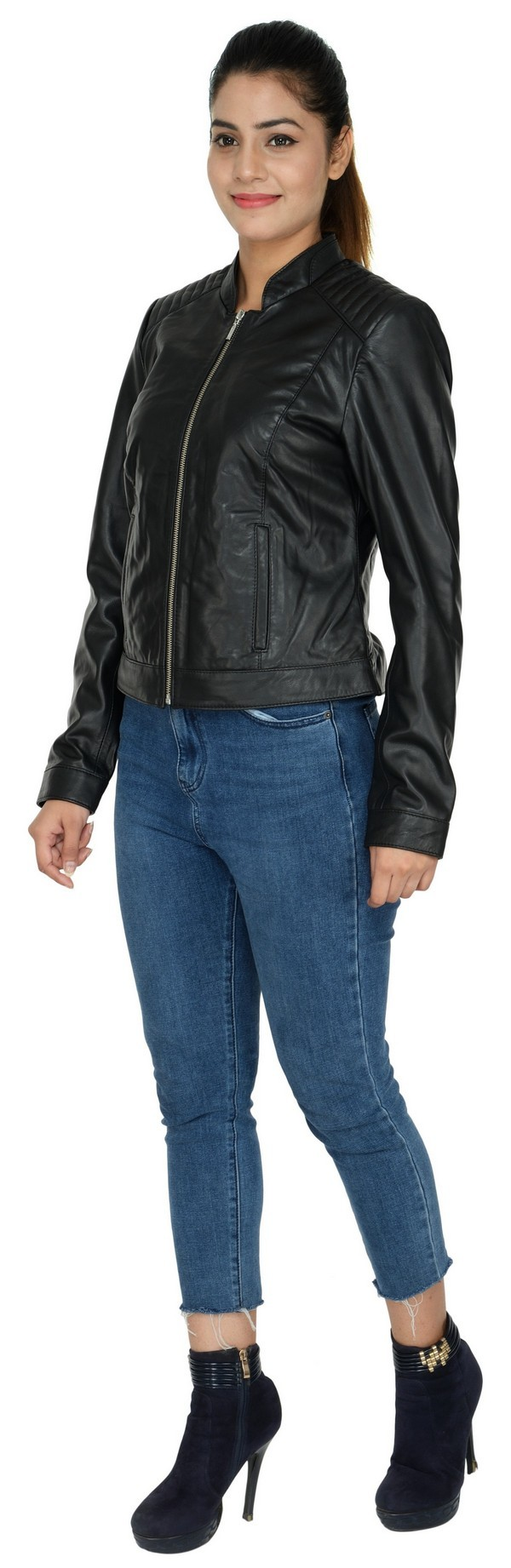 LEATHER WOMEN  JACKET BLACK-