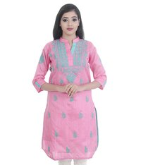 Ethnava Hand Embroidered Straight Silk Lucknowi Chikan kurti