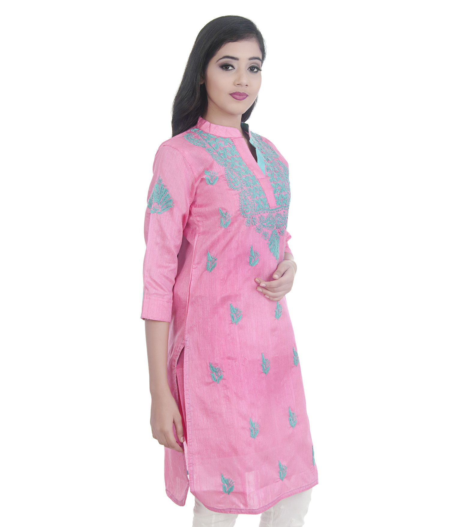 Ethnava Hand Embroidered Straight Silk Lucknowi Chikan kurti