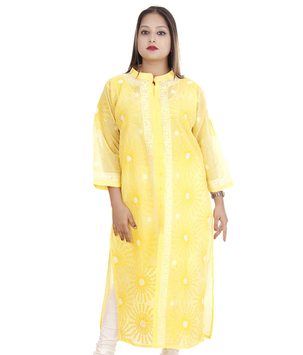 Ethnava Hand Embroidered Terry-voile cotton Lucknowi Chikan Front Slit Kurta