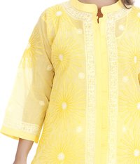 Cotton Lucknowi Chikan Front Slit Kurta
