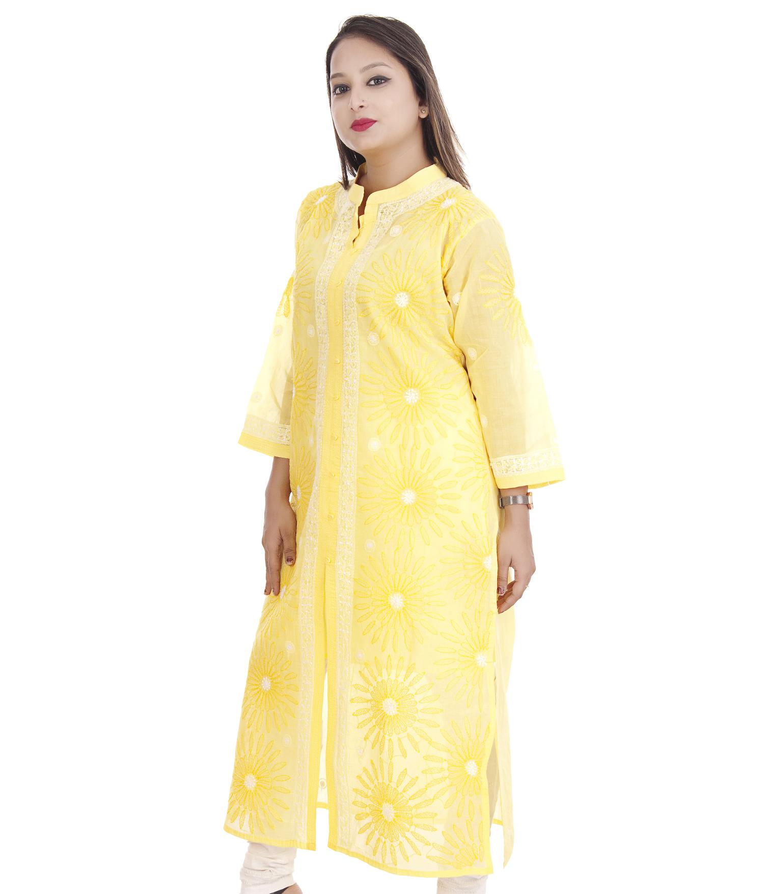 Ethnava Hand Embroidered Terry-voile cotton Lucknowi Chikan Front Slit Kurta