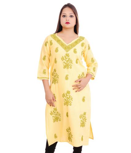 Cotton Lucknowi Chikankari Straight Kurti