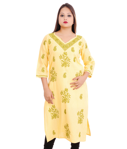 Ethnava Hand Embroidered Matty Cotton Lucknowi Chikankari Straight Kurti