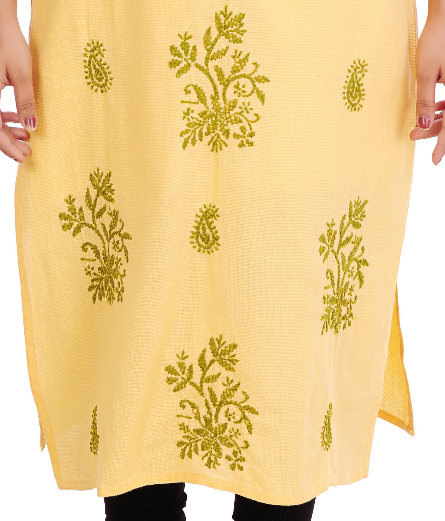 Ethnava Hand Embroidered Matty Cotton Lucknowi Chikankari Straight Kurti