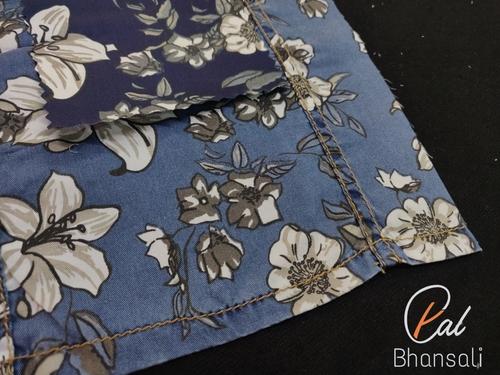 PAL by Bhanshali Indigo Floral Printed Shirting Fabric