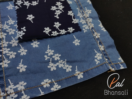 Cotton Denim Discharge Printed Shirting Fabric