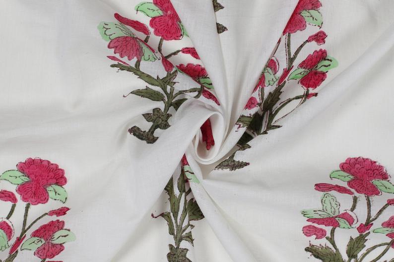 Block Print Mughal Butta Print Fabric