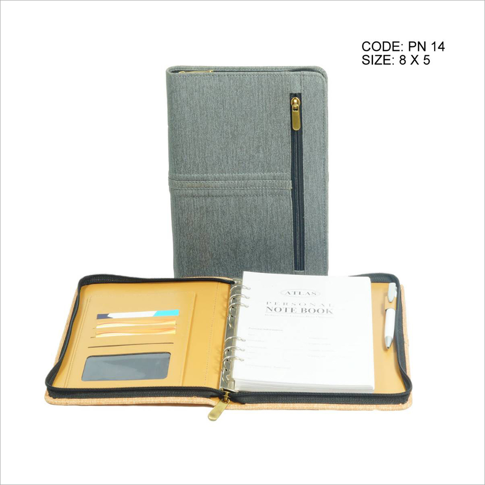 PU Grey Leather Notes Planner