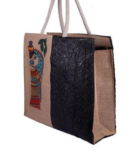Traditional Print Jute Hand Bag